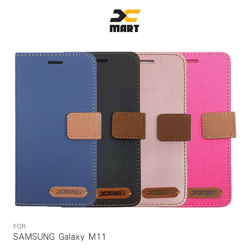 XMART SAMSUNG Galaxy M11 斜紋休閒皮套 掀蓋 可立 插卡 磁扣