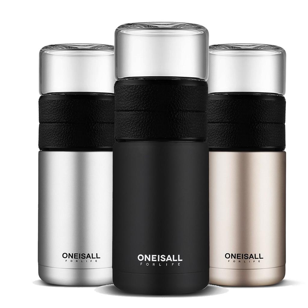 ONEISALL 600ML 保溫杯 茶水分離 磨砂 防漏 大容量 雙層 商務 不銹鋼水杯 成人 便攜 隨行