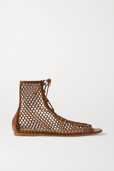 Gianvito Rossi - 皮革边饰网布凉鞋 - 棕色 - IT36
