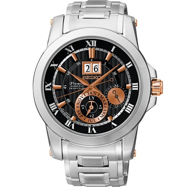 SEIKO 精工 Premier 人動電能萬年曆手錶-黑x玫塊金 7D56-0AB0K(SNP098J1)