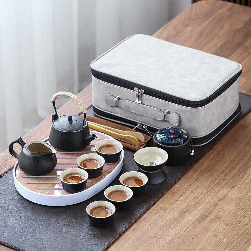 黑陶旅行功夫茶具套裝快客一壺四杯便攜包小戶外日式