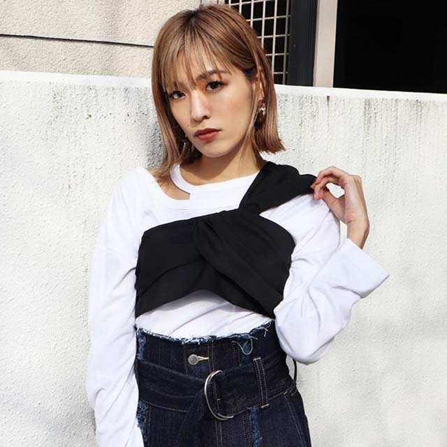 EMODA - 領口造型剪裁長T恤