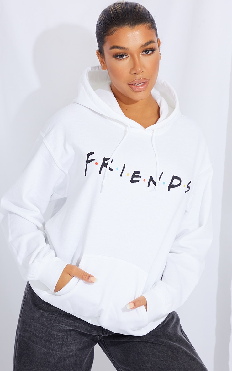 White Friends Front And Back Printed Hoodie