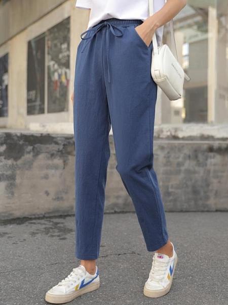棉麻褲子女夏季春休閒哈倫寬鬆九分薄款小腳蘿卜亞麻直筒工裝長褲