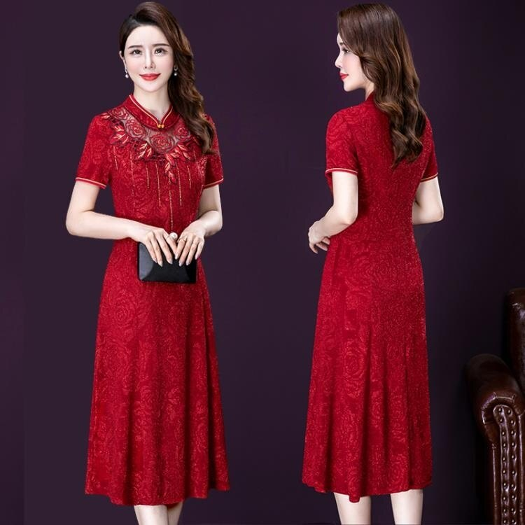旗袍改良版連身裙中年婚禮媽媽結婚高貴禮服洋氣年輕喜婆婆婚宴裝-韓尚華蓮