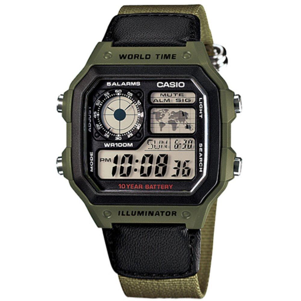 CASIO / AE-1200WHB-3B / 卡西歐 軍事風世界時間 防水 電子液晶 帆布手錶 黑x軍綠色 40mm