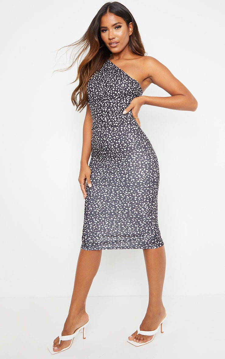 Black Dalmatian Print One Shoulder Ruched Detail Midi Dress