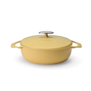日本UNILLOY極輕量琺瑯鑄鐵淺鍋24cm-黃