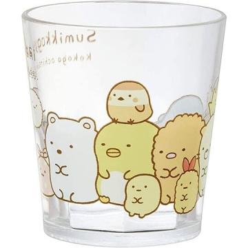 角落生物 無把塑膠杯 透明杯 壓克力杯 兒童水杯 280ml (白 排坐)