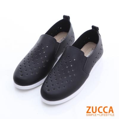 ZUCCA-縷空洞洞皮革平底鞋-黑-z6627bk