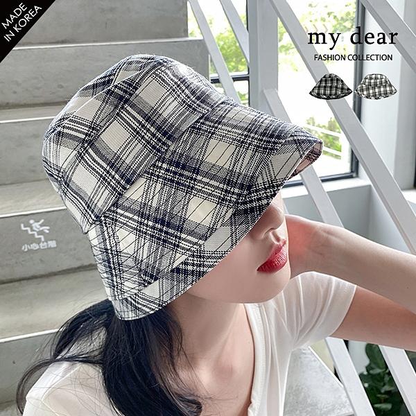 MD韓【A09200093】格紋漁夫帽2色