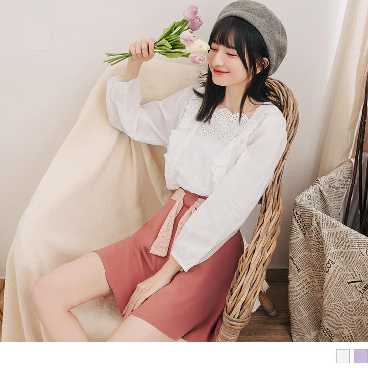 親子系列~鏤空雕花縮袖高含棉上衣