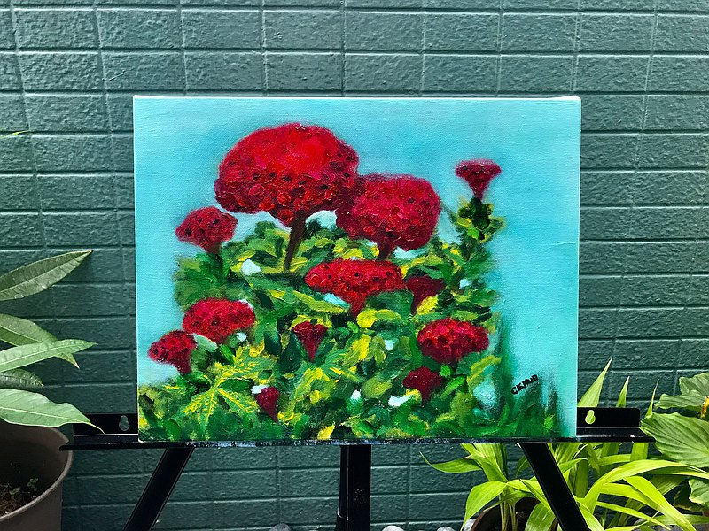 牡丹花叢(含精緻木質框) 台灣獨創堂手工職人油畫原作 用色大膽