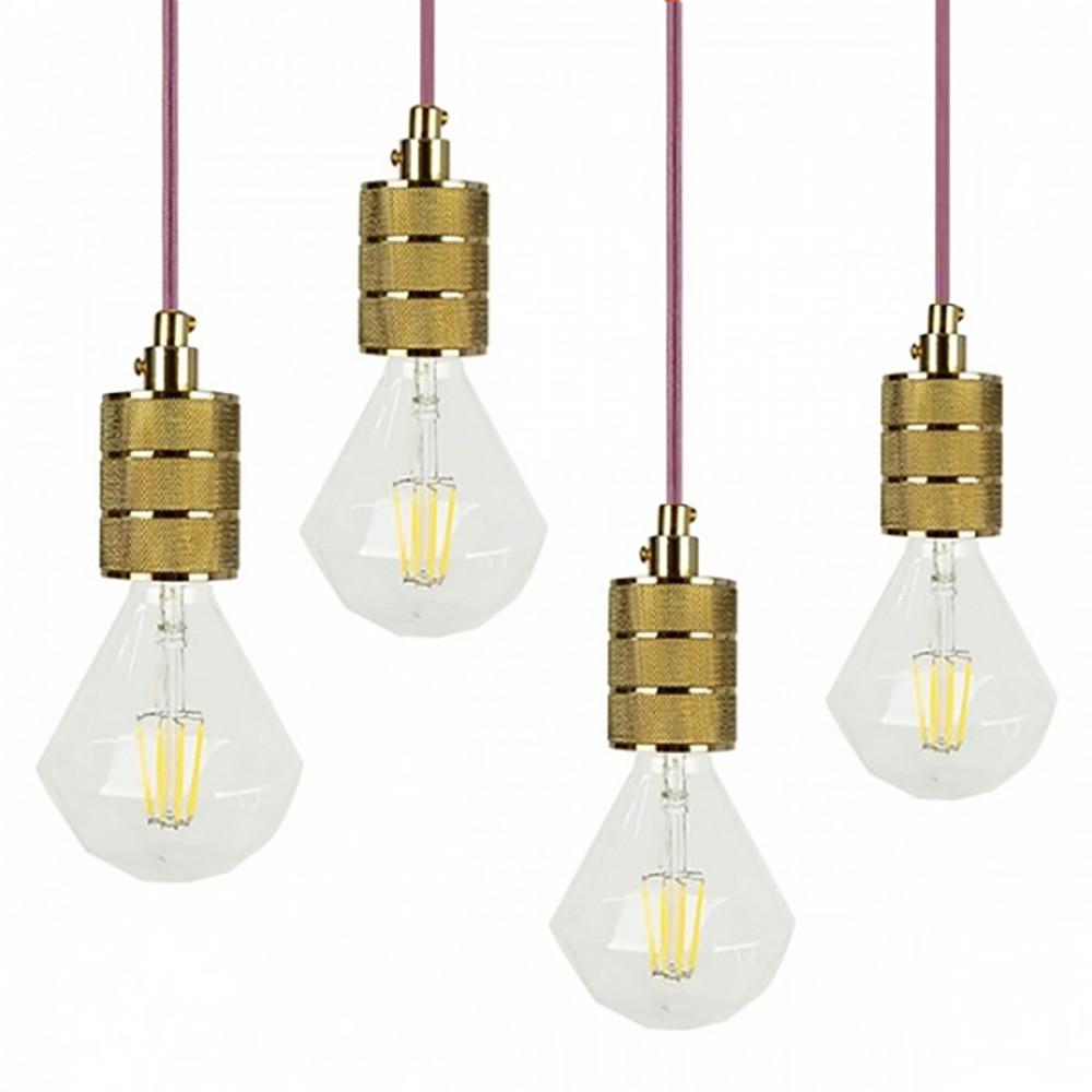 【生活工場】GOLD-單燈+(粉紅)編織線含LED-8W鑽石燈泡