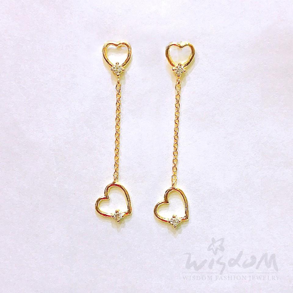 威世登 黃金心型鑲白石垂吊式耳環 金重約0.47~0.49錢 GF00517-AFXX-FIX