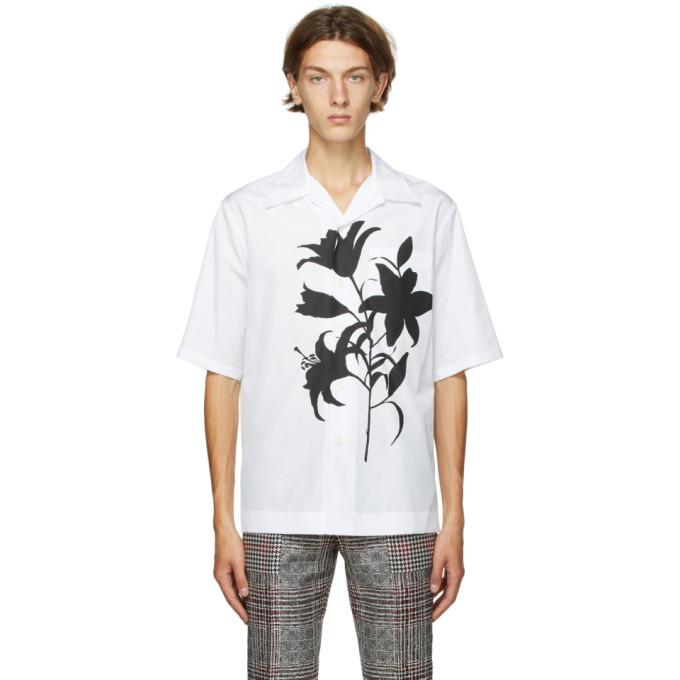 Alexander McQueen 白色 and 黑色 Floral 短袖衬衫