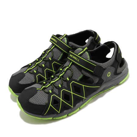 Merrell 涼鞋 Hydro Quench 運動休閒 童鞋 快乾內裡 緩震 高抓地力 魔鬼氈 中大童 黑 綠 MK263196 MK263196