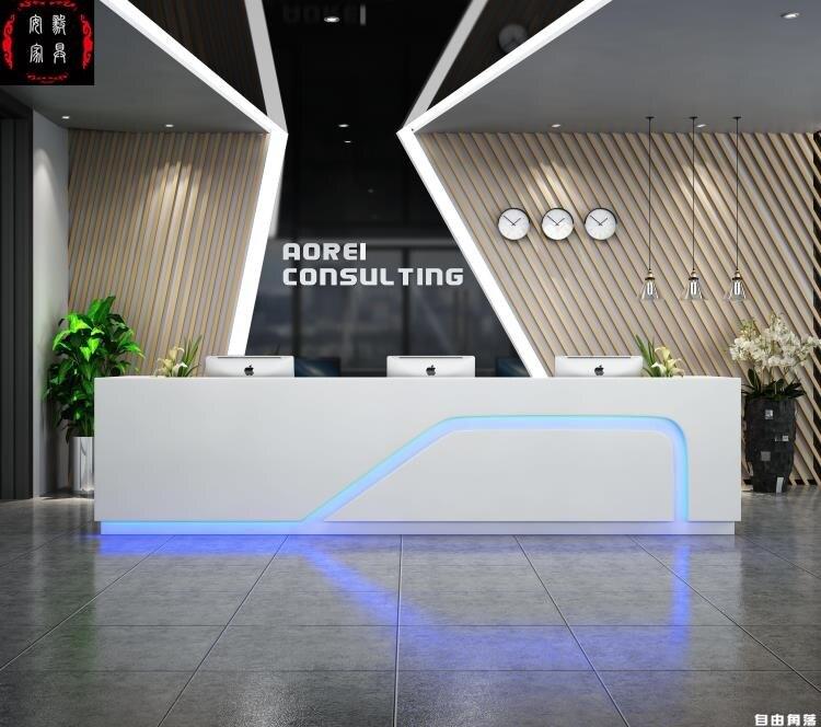 公司前臺烤漆高檔吧臺現代簡約美容院收銀白色燈帶接待臺整裝