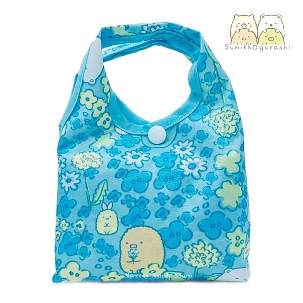 日本限定 角落生物 小花滿版 折疊收納式 購物袋 / 環保袋 /手提袋 (藍色)
