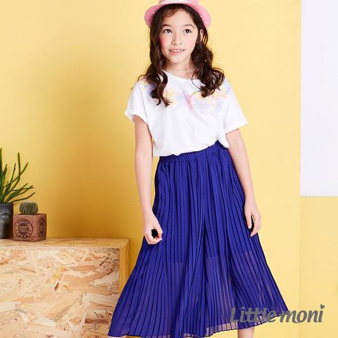 Little moni 輕甜女孩百折長褲裙(深藍)