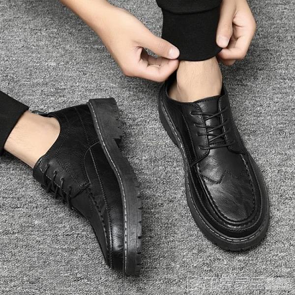 秋季黑色皮鞋男韓版潮流英倫商務正裝休閒鞋百搭青年系帶西裝男鞋 印象