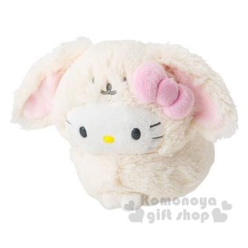 〔小禮堂〕Hello Kitty 圓兔造型絨毛玩偶娃娃《S.淡黃》2019復活節系列