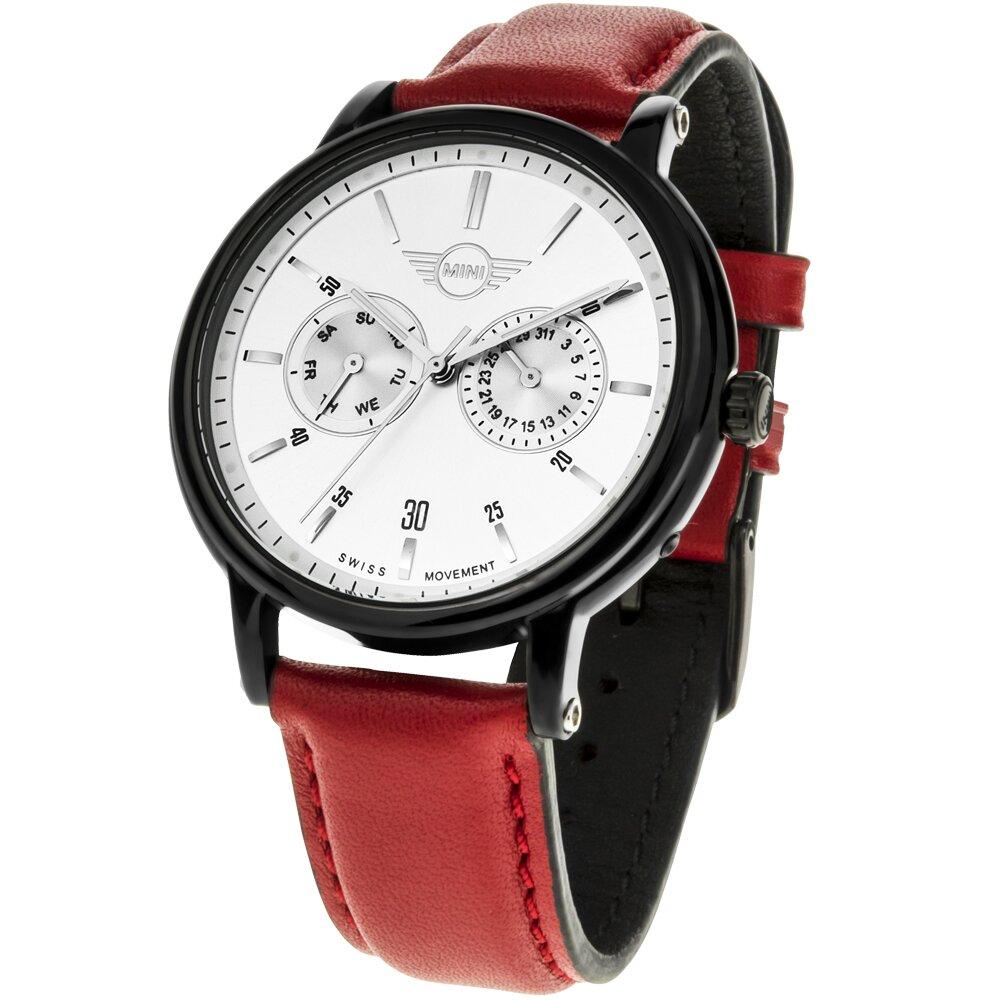 【MINI Swiss Watches 】石英錶 43.5mm 白色二眼錶面 紅色皮錶帶