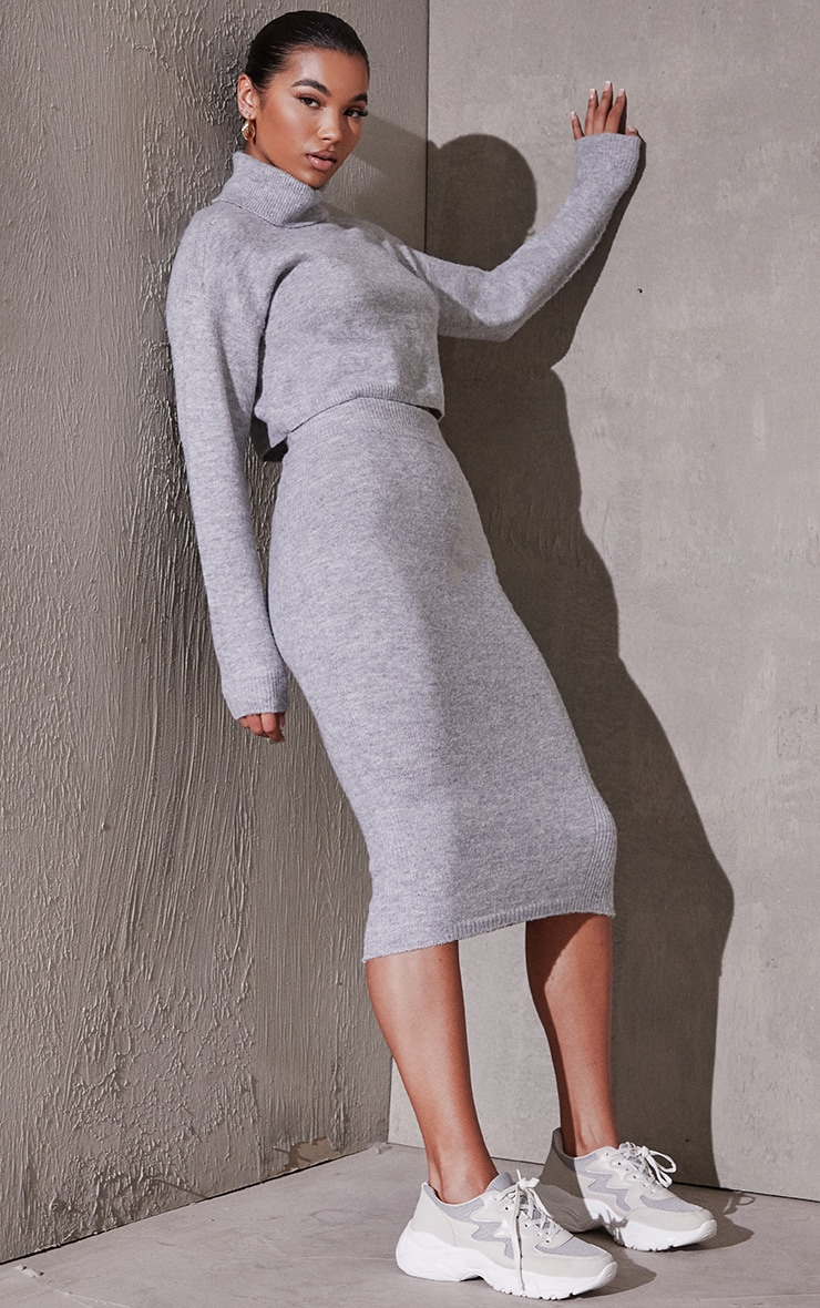Grey Marl Knitted Skirt Lounge Set