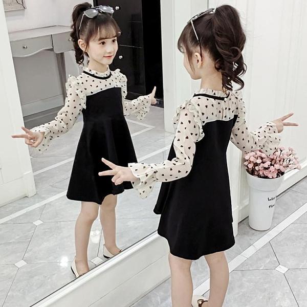 洋裝 女童洋裝2020新款春裝超洋氣兒童時髦中大童公主春秋季圓點裙子