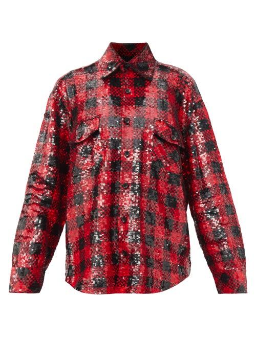 Ashish - Oversized Plaid Sequinned Shirt - Womens - Black Red