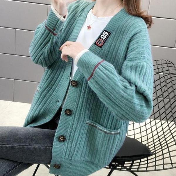 針織外套 秋韓版開衫外套女針織衫慵懶風寬鬆洋氣短款女裝毛衣 芊墨 618大促