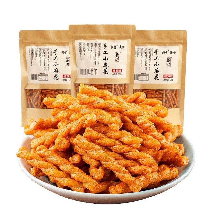 手工小麻花 八味養生鋪 128克 四種口味 手工麻花捲 麻花捲 餅乾 零食 鮮蝦 甜辣 燒烤 海苔
