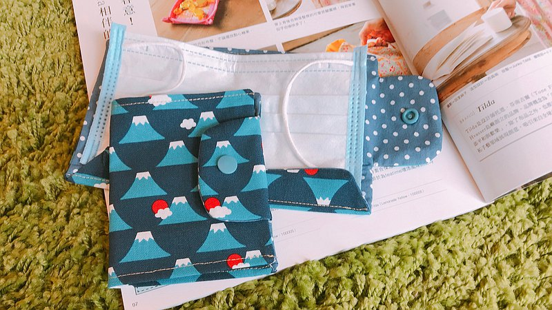 口罩收納袋-深藍富士山