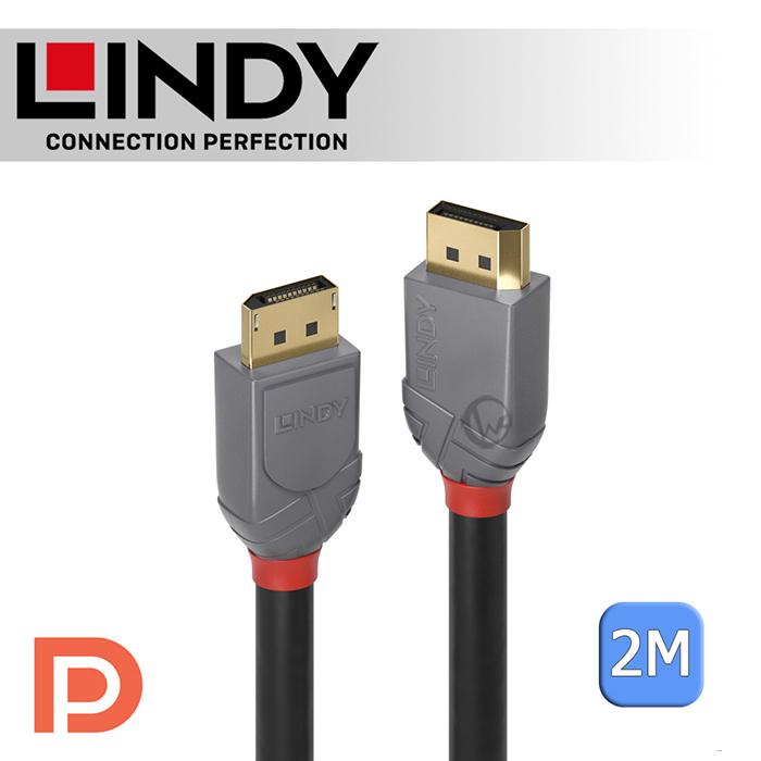 LINDY 林帝 ANTHRA DisplayPort 1.4版 公 to 公 傳輸線 2m (36482)