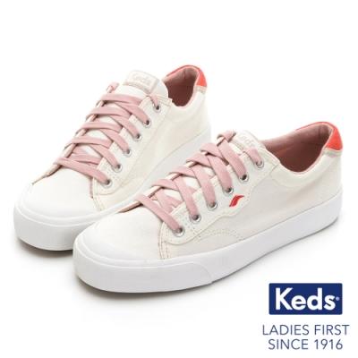 Keds CREW KICK 活力撞色綁帶帆布鞋-奶油白