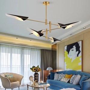 【H&R安室家】六燈款方向吊燈黑色