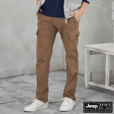 Jeep 男裝 百搭休閒工作長褲 -淺褐色
