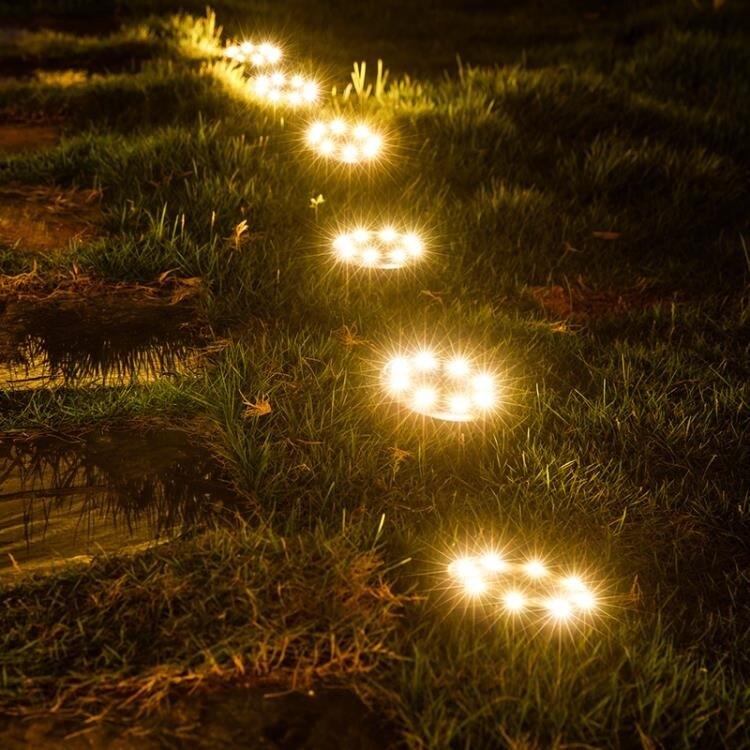 【快速出貨】太陽能燈 太陽能燈地埋燈 庭院閃燈超亮防水LED戶外燈別墅花園裝飾草坪射燈 七色堇 新年春節送禮