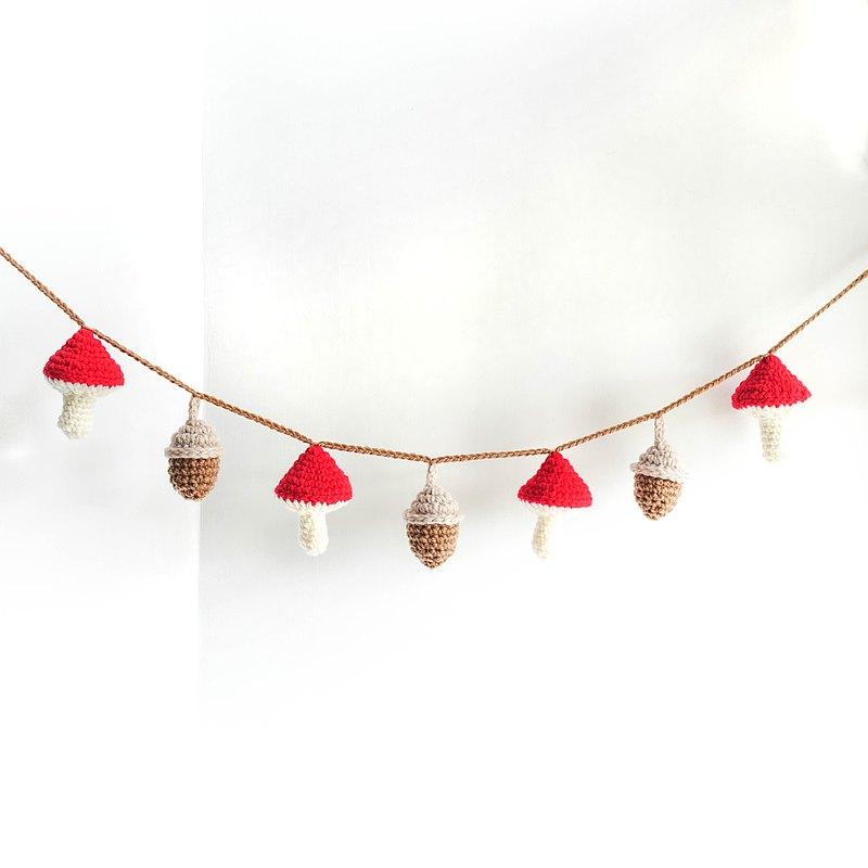 編織紅蘑菇松果掛旗 (派對/露營/野餐/生日佈置裝飾) 掛飾 吊旗
