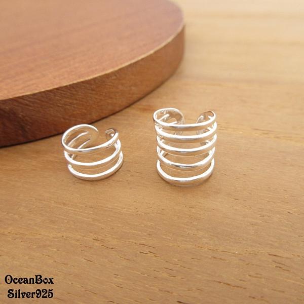 §海洋盒子§一對價。不對稱亮面多圈線條耳骨夾.夾式925純銀耳環