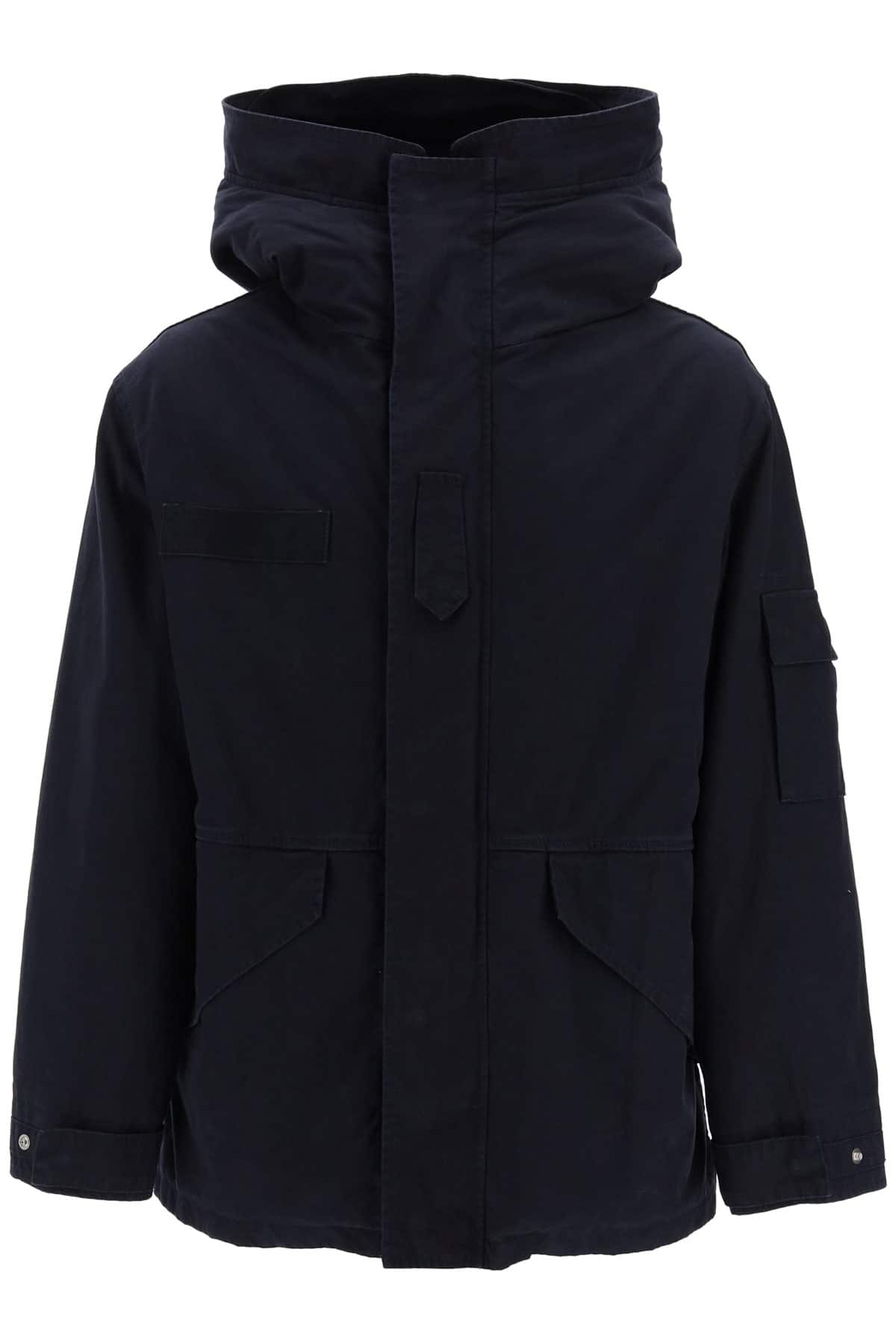MR & MRS ITALY MIDI CURTAIN PARKA WITH REMOVABLE FUR INTERIOR M Blue Cotton, Fur