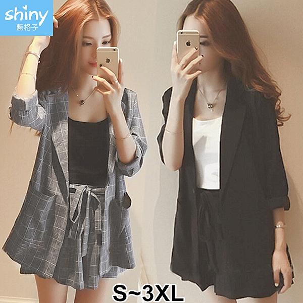 【V3157】shiny藍格子-時尚氣質.格子外套+鬆緊腰短褲兩件式套裝
