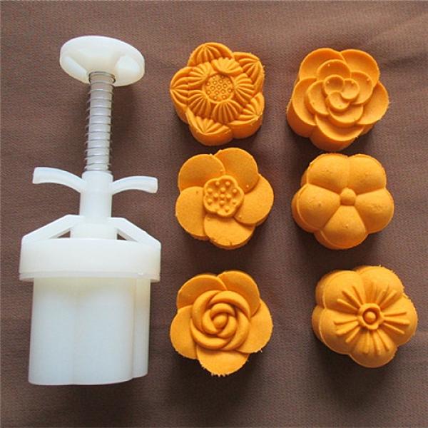 手壓式月餅模具 25-50g可調厚度5瓣梅花形模具 綠豆糕模