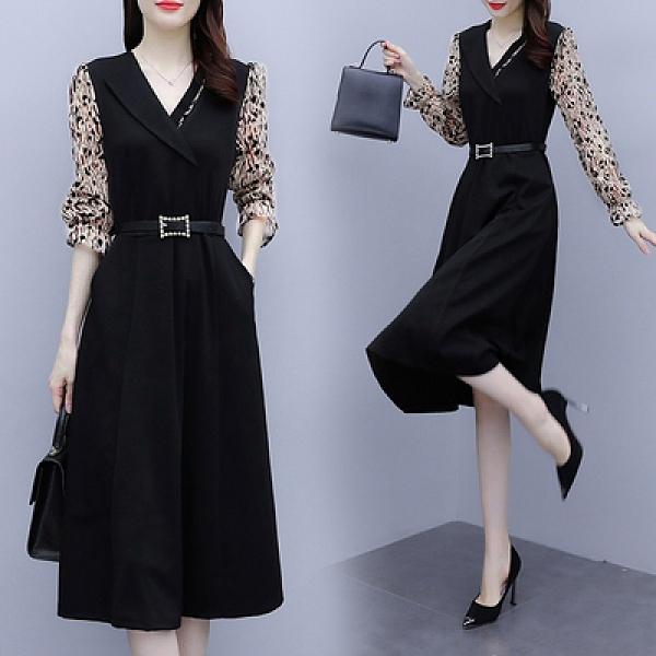 長袖連身裙 M-4XL女神氣質減齡顯瘦收腰高端燙金植絨洋氣洋裝輕熟風秋裝款5682D603A依佳衣