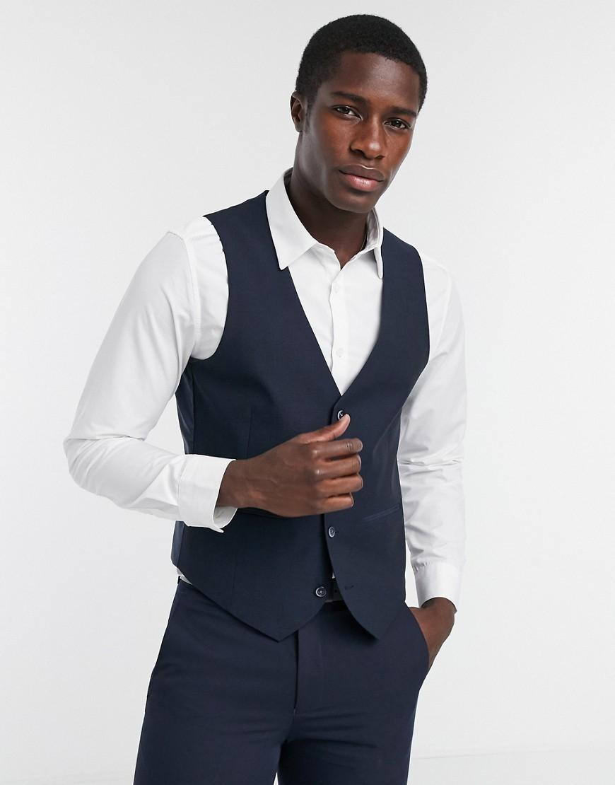 Farah navy pin dot slim fit suit waistcoat