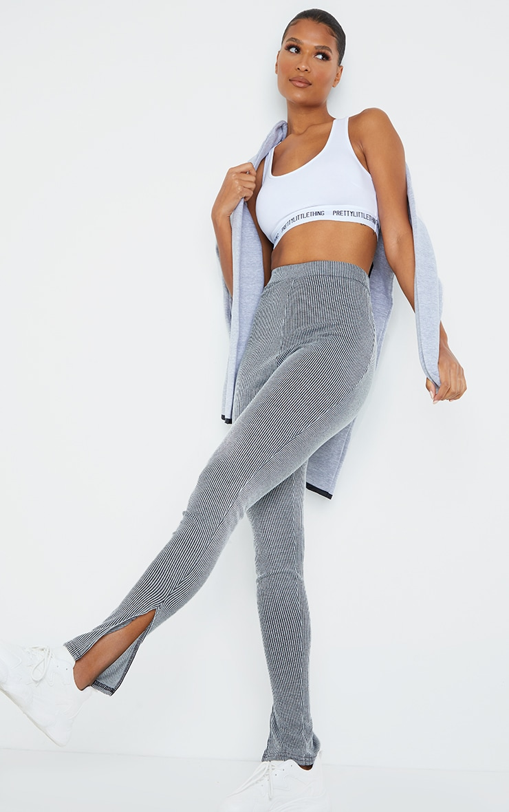 Grey Contrast Rib Split Hem Leggings