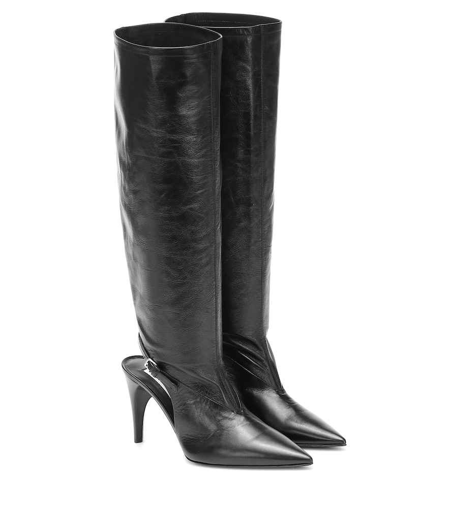 Cut-out knee-high leather boots