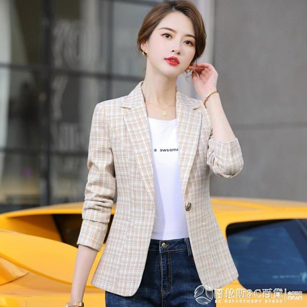 小西裝外套 女士新款 韓版 英倫風 格子 粉色短款西服 圖拉斯3C百貨
