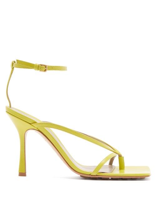 Bottega Veneta - Stretch Square-toe Leather Sandals - Womens - Green