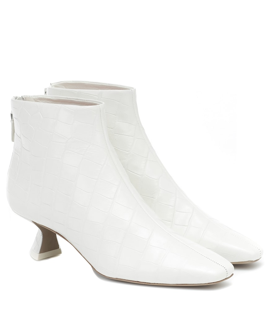 Valerie croc-effect leather ankle boots
